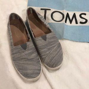 Gray slip-on flats
